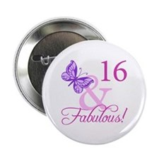 """Fabulous 16th Birthday For Girls 2.25"""" Button"""
