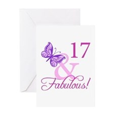 Fabulous 17th Birthday For Girls Greeting Card