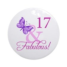 Fabulous 17th Birthday For Girls Ornament (Round)