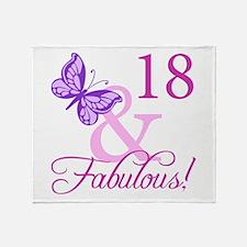 Fabulous 18th Birthday For Girls Throw Blanket