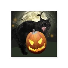 "Scary Halloween Cat Square Sticker 3"" x 3"""