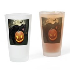 Scary Halloween Cat Drinking Glass
