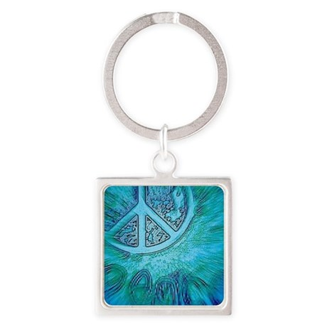 Groovy retro teal peace sign Square Keychain