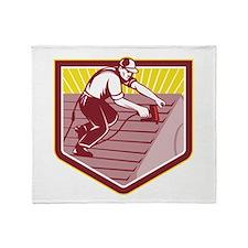Roofer Roofing Worker Retro Throw Blanket