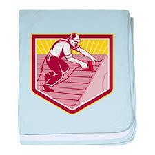Roofer Roofing Worker Retro baby blanket