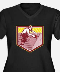 Roofer Roofing Worker Retro Plus Size T-Shirt