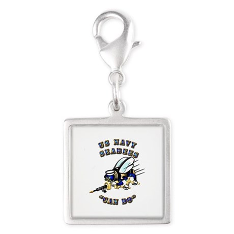 US Navy - SeaBees - Can Do Silver Square Charm