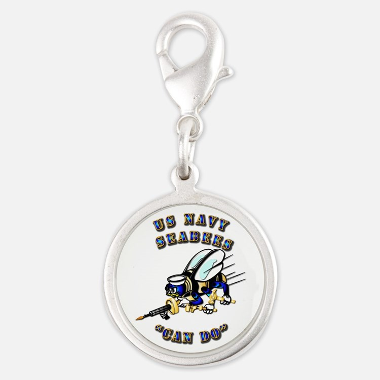 US Navy - SeaBees - Can Do Silver Round Charm