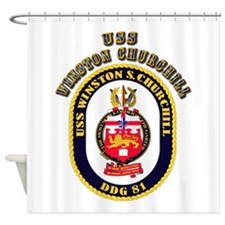 USS Winston Churchill - Crest Shower Curtain