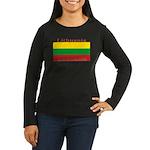Lithuanian Flag Women's Long Sleeve Brown Shirt