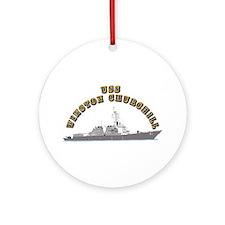 USS Winston Churchill - Ship Ornament (Round)