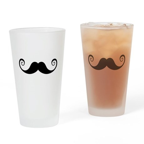 Curly mustache design Drinking Glass