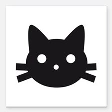 "Black cat face design Square Car Magnet 3"" x 3"""