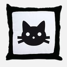 Black cat face design Throw Pillow