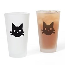 Black cat face design Drinking Glass