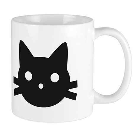 Black cat face design Mug