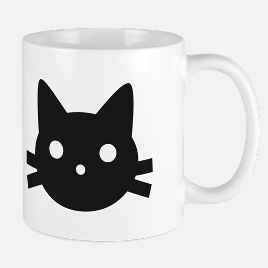 Black cat face design Mug