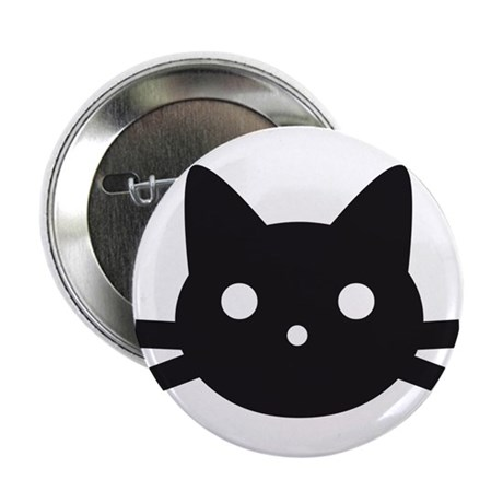 "Black cat face design 2.25"" Button"