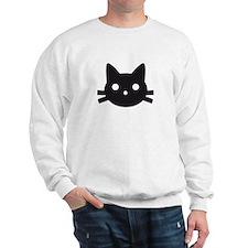 Black cat face design Sweatshirt