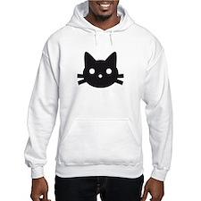 Black cat face design Hoodie