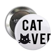 """Cat lover with black cat face 2.25"""" Button"""