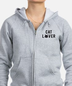Cat lover with black cat face Zip Hoodie