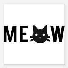 Meow, with black cat face, text design Square Car