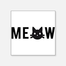 Meow, with black cat face, text design Sticker