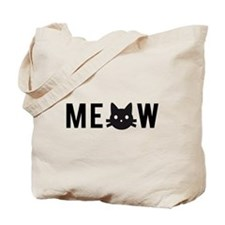 Meow, with black cat face, text design Tote Bag