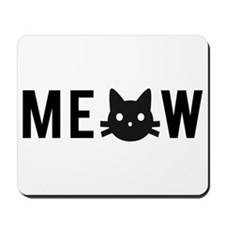 Meow, with black cat face, text design Mousepad