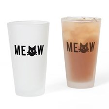 Meow, with black cat face, text design Drinking Gl