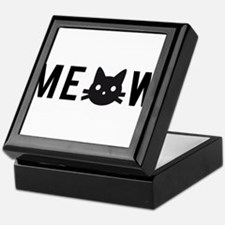 Meow, with black cat face, text design Keepsake Bo