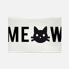 Meow, with black cat face, text design Rectangle M