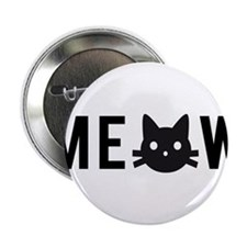 "Meow, with black cat face, text design 2.25"" Butto"