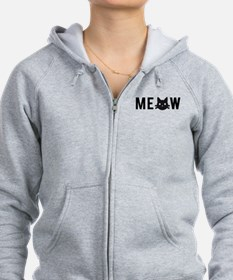 Meow, with black cat face, text design Zip Hoodie