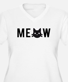 Meow, with black cat face, text design Plus Size T