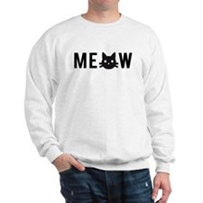 Meow, with black cat face, text design Sweatshirt