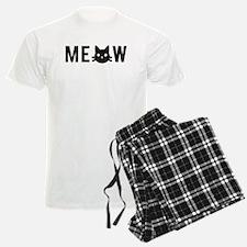 Meow, with black cat face, text design Pajamas