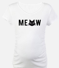 Meow, with black cat face, text design Shirt