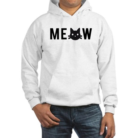 Meow, with black cat face, text design Hoodie