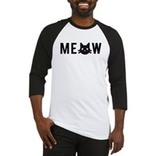 Meow, with black cat face, text design Baseball Je