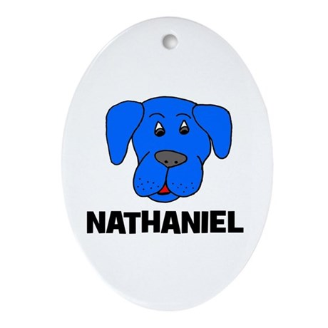 Nathaniel Puppy Dog Gift Oval Ornament