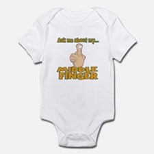 Funny Ask Me About My Middle Finger Infant Bodysui