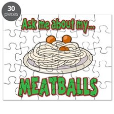 Funny Ask Me About My Meatballs Food Innuendo Puzz
