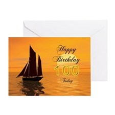 100th Birthday card with sunset yacht Greeting Car