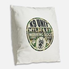 K9 Unit Military Working Dogs Burlap Throw Pillow