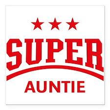 """Super Auntie (Red) Square Car Magnet 3"""" x 3"""""""