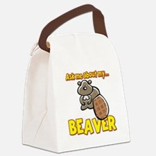 Funny Ask Me About My Beaver Humor Design Canvas L
