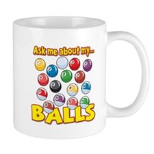 Funny Ask Me About My Balls Pool Billiards Humor M