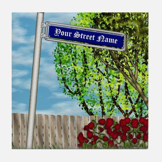 personalizable vintage street Tile Coaster